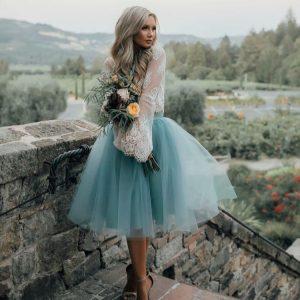 soft blue midi tulle skirt