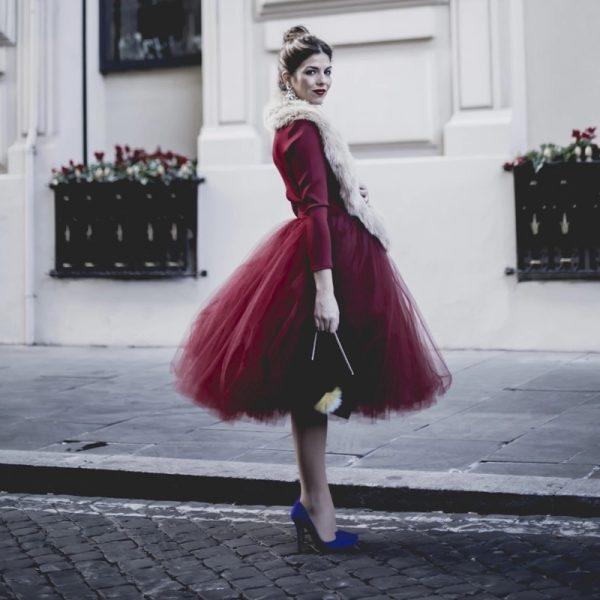 burgundy midy skirt