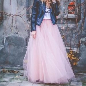 soft pink long tulle skirt