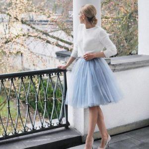grey midi tulle skirt