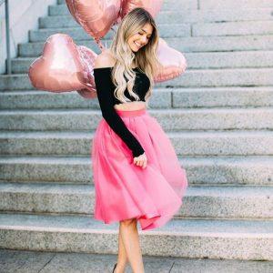 fusta tulle midi roz