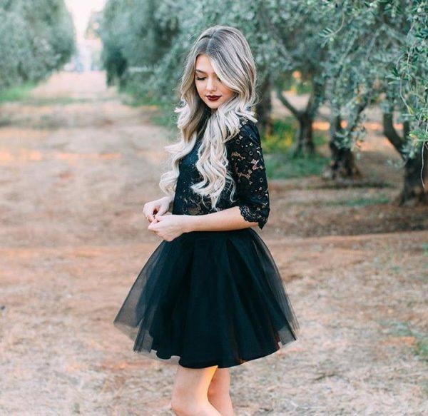 Black Mini Tulle Skirt